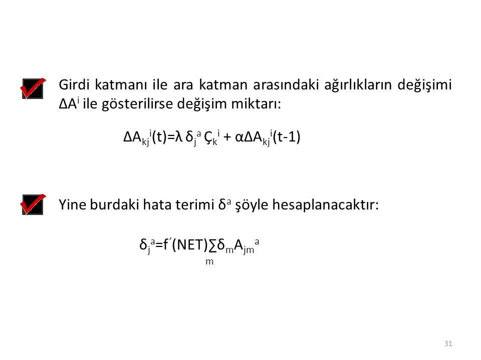 Girdi katmanı ile ara katman arasındaki ağırlıkların değişimi ∆A i ile gösterilirse değişim miktarı: ∆A kj i (t)=λ δ j a Ç k i + α∆A kj i (t-1) Yine b