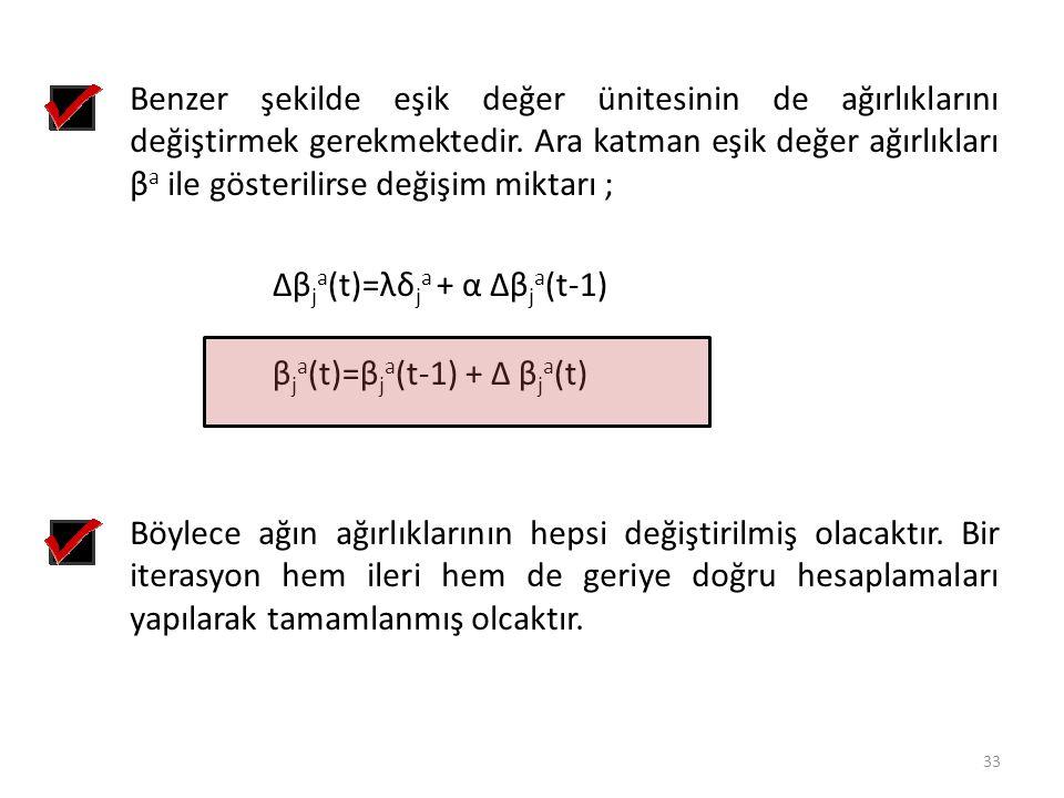 Benzer şekilde eşik değer ünitesinin de ağırlıklarını değiştirmek gerekmektedir. Ara katman eşik değer ağırlıkları β a ile gösterilirse değişim miktar