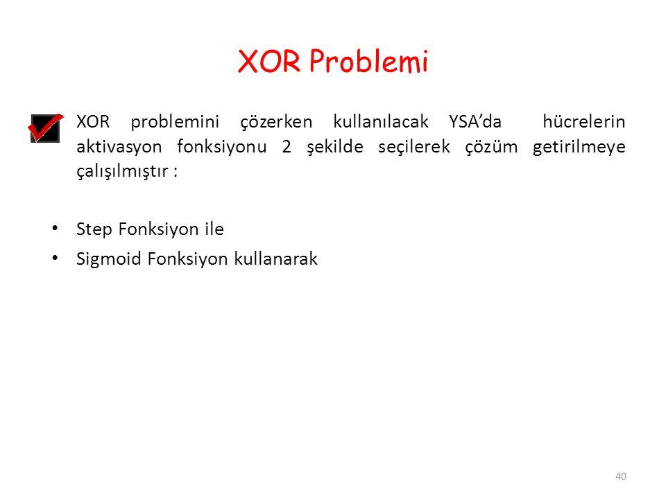 XOR Problemi XOR problemini çözerken kullanılacak YSA'da hücrelerin aktivasyon fonksiyonu 2 şekilde seçilerek çözüm getirilmeye çalışılmıştır : Step F