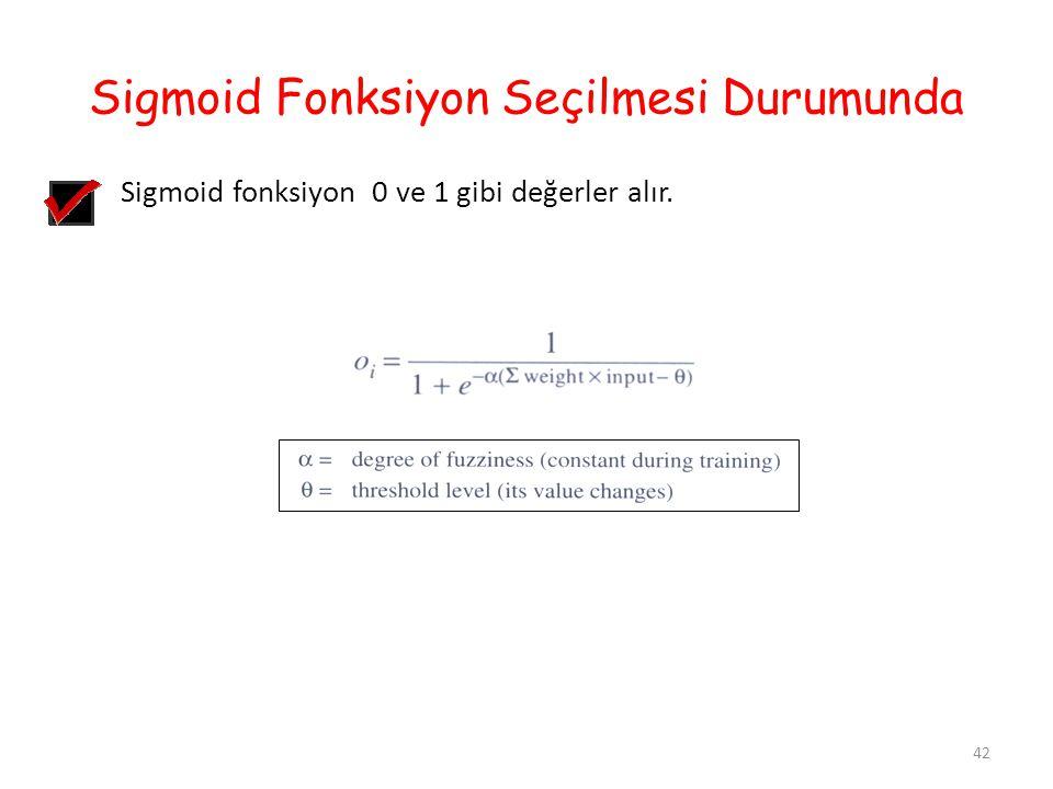 Sigmoid Fonksiyon Seçilmesi Durumunda Sigmoid fonksiyon 0 ve 1 gibi değerler alır. 42