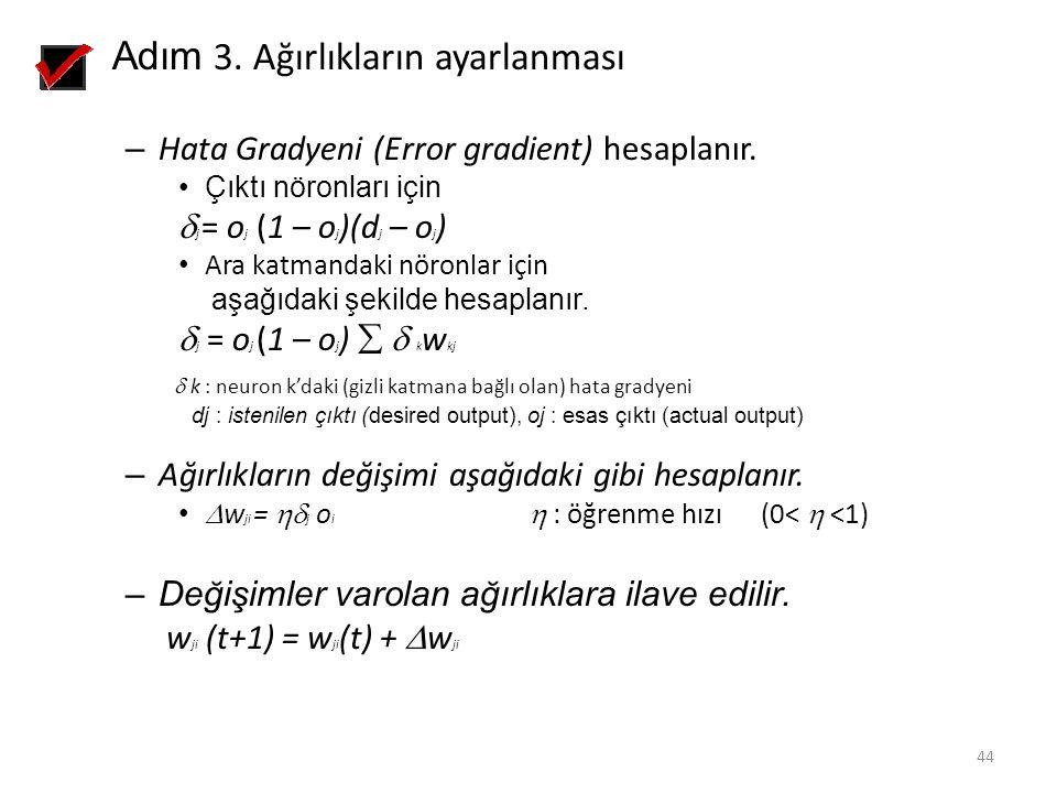 Adım 3. Ağırlıkların ayarlanması – Hata Gradyeni (Error gradient) hesaplanır. Çıktı nöronları için  j = o j (1 – o j )(d j – o j ) Ara katmandaki nör