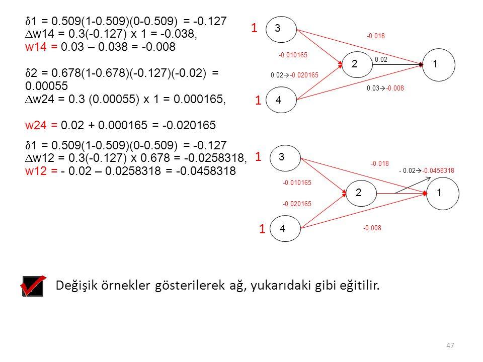  1 = 0.509(1-0.509)(0-0.509) = -0.127  w14 = 0.3(-0.127) x 1 = -0.038, w14 = 0.03 – 0.038 = -0.008  2 = 0.678(1-0.678)(-0.127)(-0.02) = 0.00055  w