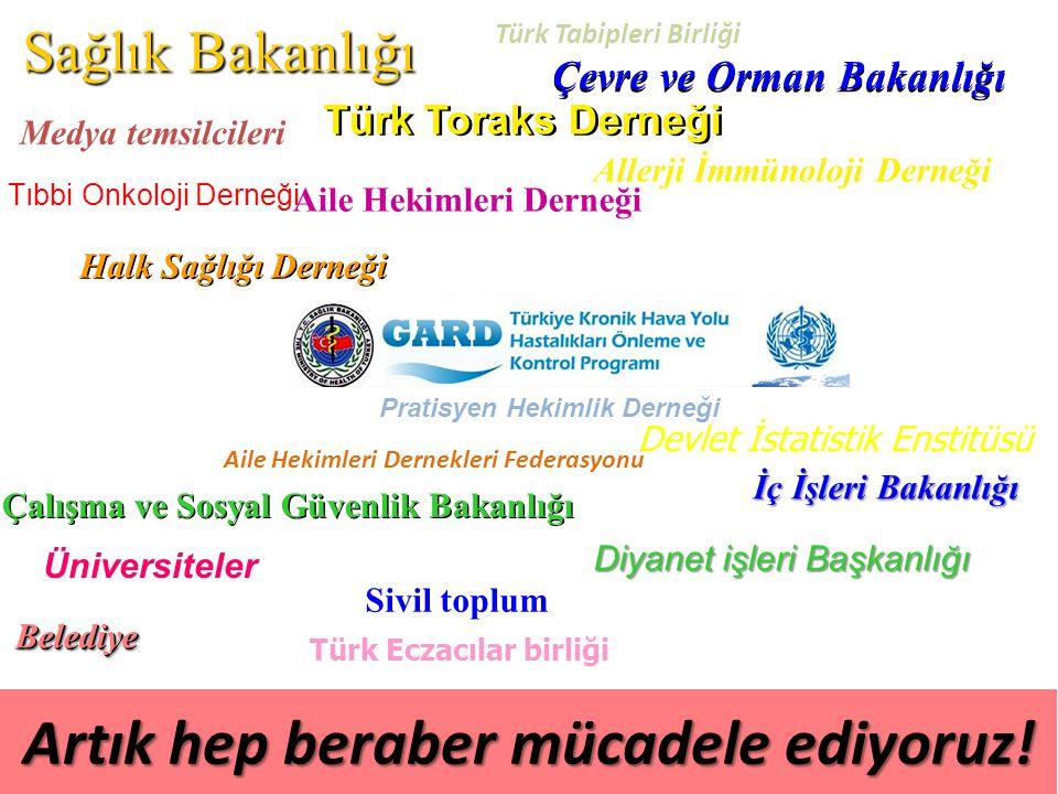 Sağlık Bakanlığı Çevre ve Orman Bakanlığı Türk Toraks Derneği Allerji İmmünoloji Derneği Sivil toplum Üniversiteler BelediyeBelediye Artık hep beraber