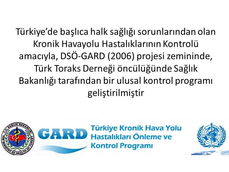Türkiye'de başlıca halk sağlığı sorunlarından olan Kronik Havayolu Hastalıklarının Kontrolü amacıyla, DSÖ-GARD (2006) projesi zemininde, Türk Toraks D