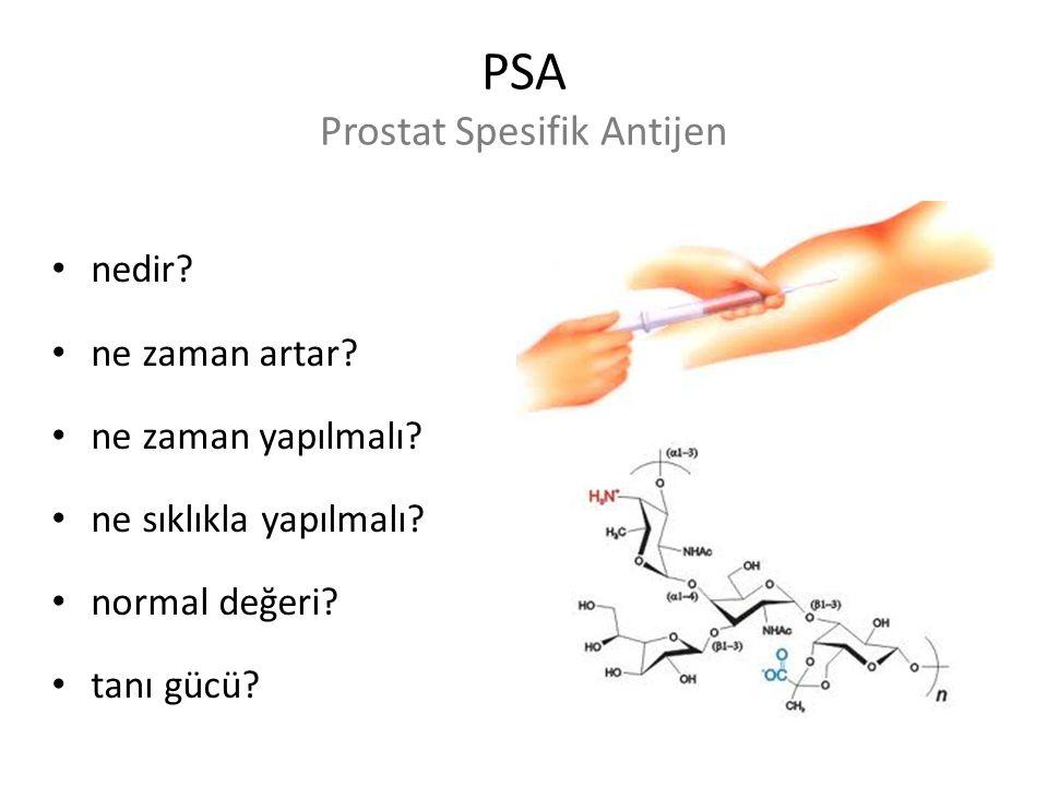 PSA Prostat Spesifik Antijen nedir? ne zaman artar? ne zaman yapılmalı? ne sıklıkla yapılmalı? normal değeri? tanı gücü?