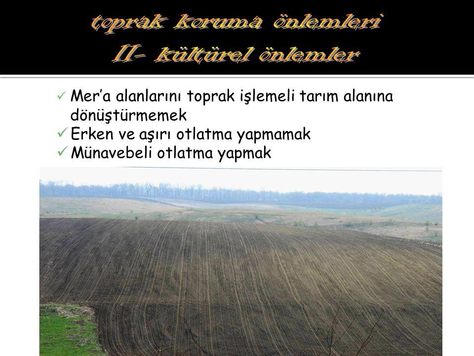 Mer'a alanlarını toprak işlemeli tarım alanına dönüştürmemek Erken ve aşırı otlatma yapmamak Münavebeli otlatma yapmak