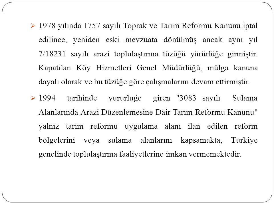  1978 yılında 1757 sayılı Toprak ve Tarım Reformu Kanunu iptal edilince, yeniden eski mevzuata dönülmüş ancak aynı yıl 7/18231 sayılı arazi toplulaşt