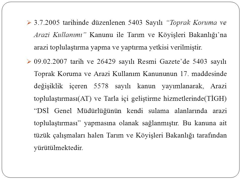  3.7.2005 tarihinde düzenlenen 5403 Sayılı Toprak Koruma ve Arazi Kullanımı Kanunu ile Tarım ve Köyişleri Bakanlığı'na arazi toplulaştırma yapma ve yaptırma yetkisi verilmiştir.