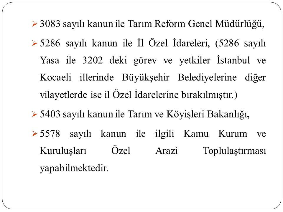  3083 sayılı kanun ile Tarım Reform Genel Müdürlüğü,  5286 sayılı kanun ile İl Özel İdareleri, (5286 sayılı Yasa ile 3202 deki görev ve yetkiler İstanbul ve Kocaeli illerinde Büyükşehir Belediyelerine diğer vilayetlerde ise il Özel İdarelerine bırakılmıştır.)  5403 sayılı kanun ile Tarım ve Köyişleri Bakanlığı,  5578 sayılı kanun ile ilgili Kamu Kurum ve Kuruluşları Özel Arazi Toplulaştırması yapabilmektedir.