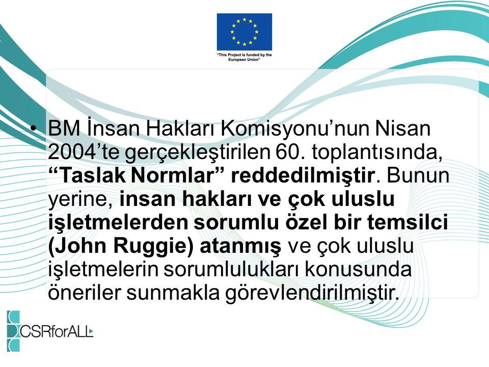 """BM İnsan Hakları Komisyonu'nun Nisan 2004'te gerçekleştirilen 60. toplantısında, """"Taslak Normlar"""" reddedilmiştir. Bunun yerine, insan hakları ve çok u"""