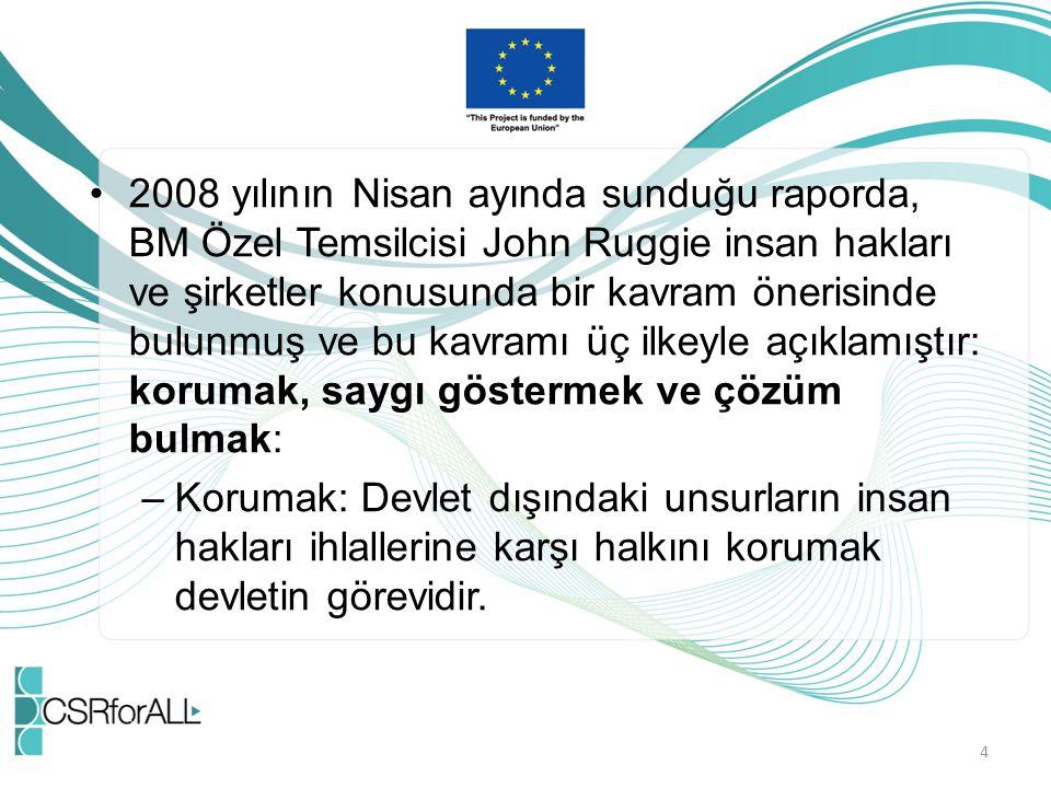 2008 yılının Nisan ayında sunduğu raporda, BM Özel Temsilcisi John Ruggie insan hakları ve şirketler konusunda bir kavram önerisinde bulunmuş ve bu ka