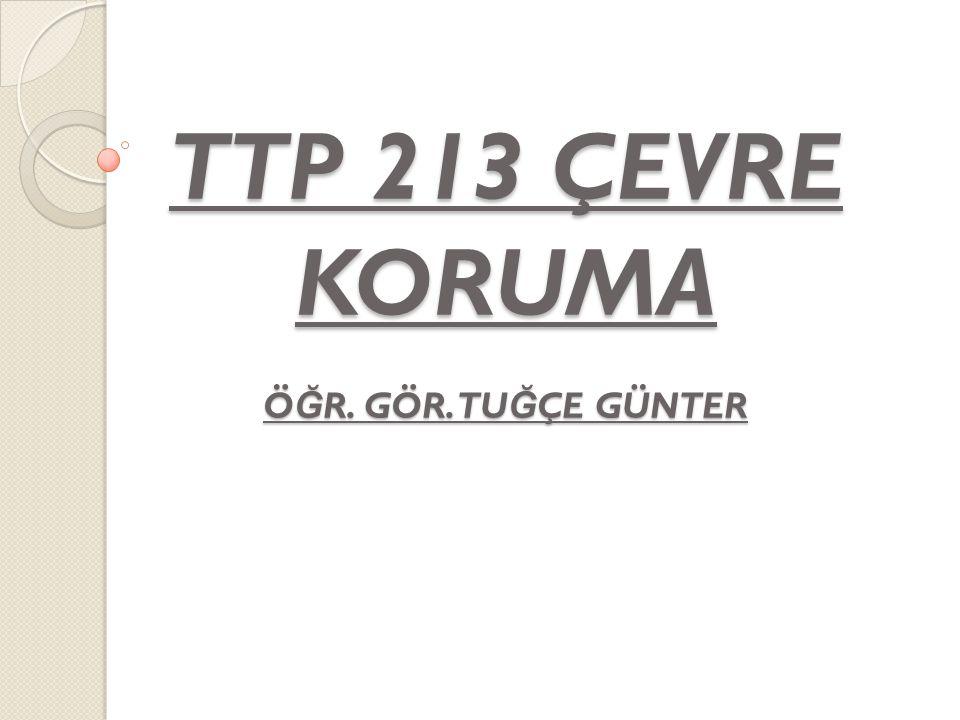 TTP 213 ÇEVRE KORUMA Ö Ğ R. GÖR. TU Ğ ÇE GÜNTER