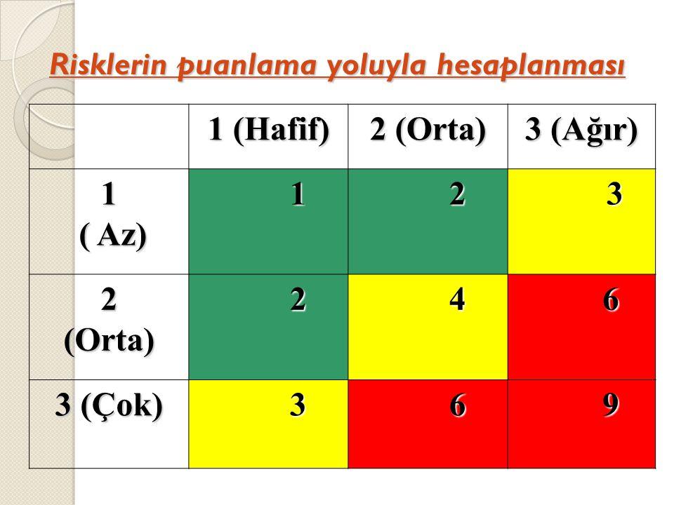 Risklerin puanlama yoluyla hesaplanması 1 (Hafif) 2 (Orta) 3 (Ağır) 1 ( Az) ( Az) 1 2 3 2(Orta) 2 4 6 3 (Çok) 3 6 9