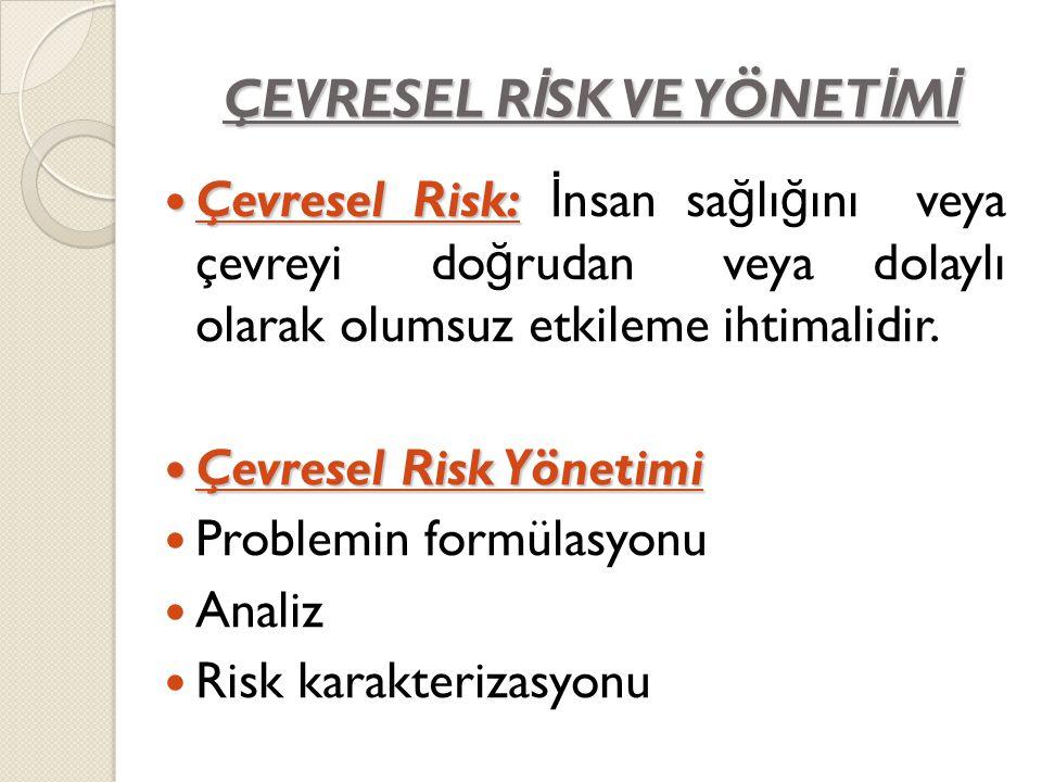ÇEVRESEL R İ SK VE YÖNET İ M İ Çevresel Risk: Çevresel Risk: İ nsan sa ğ lı ğ ını veya çevreyi do ğ rudan veya dolaylı olarak olumsuz etkileme ihtimal