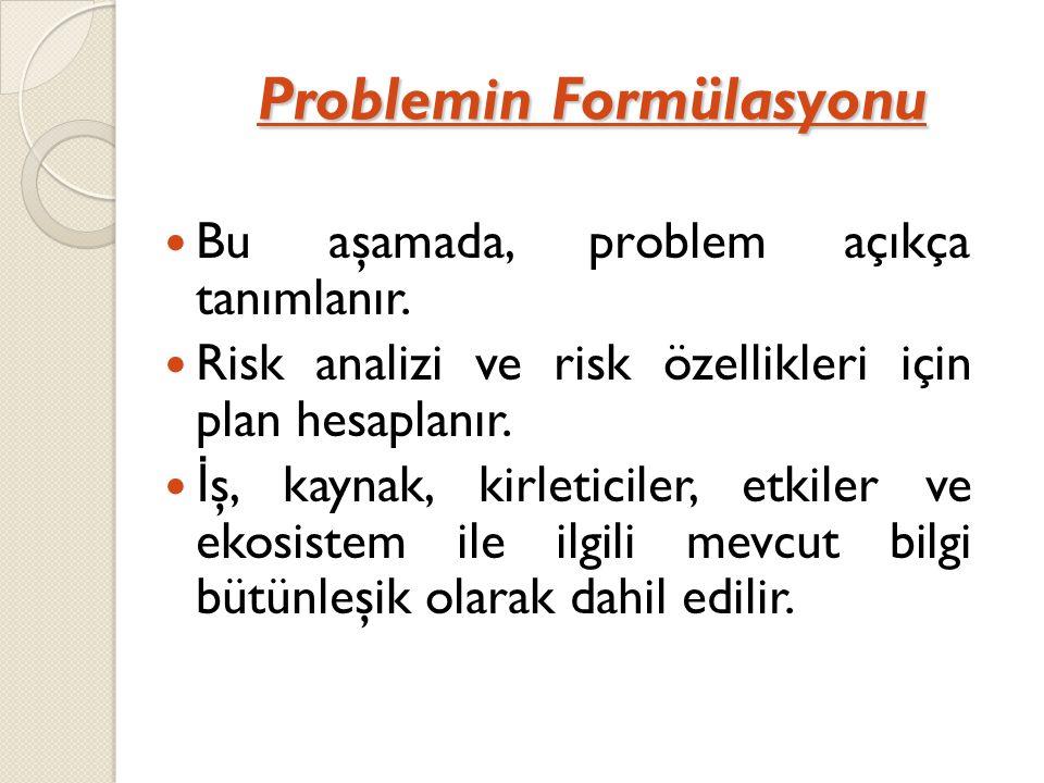 Problemin Formülasyonu Bu aşamada, problem açıkça tanımlanır. Risk analizi ve risk özellikleri için plan hesaplanır. İ ş, kaynak, kirleticiler, etkile