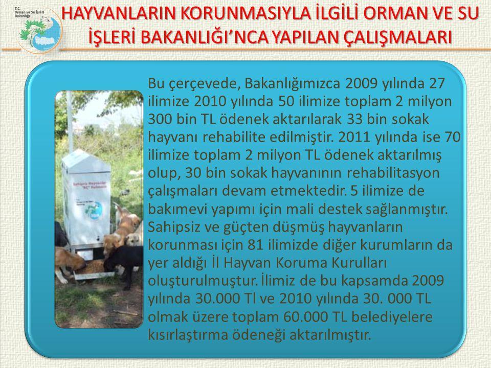 HAYVANLARIN KORUNMASIYLA İLGİLİ ORMAN VE SU İŞLERİ BAKANLIĞI'NCA YAPILAN ÇALIŞMALARI Bu çerçevede, Bakanlığımızca 2009 yılında 27 ilimize 2010 yılında