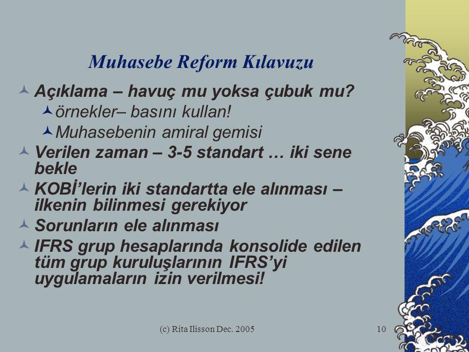 (c) Rita Ilisson Dec. 200510 Muhasebe Reform Kılavuzu Açıklama – havuç mu yoksa çubuk mu.