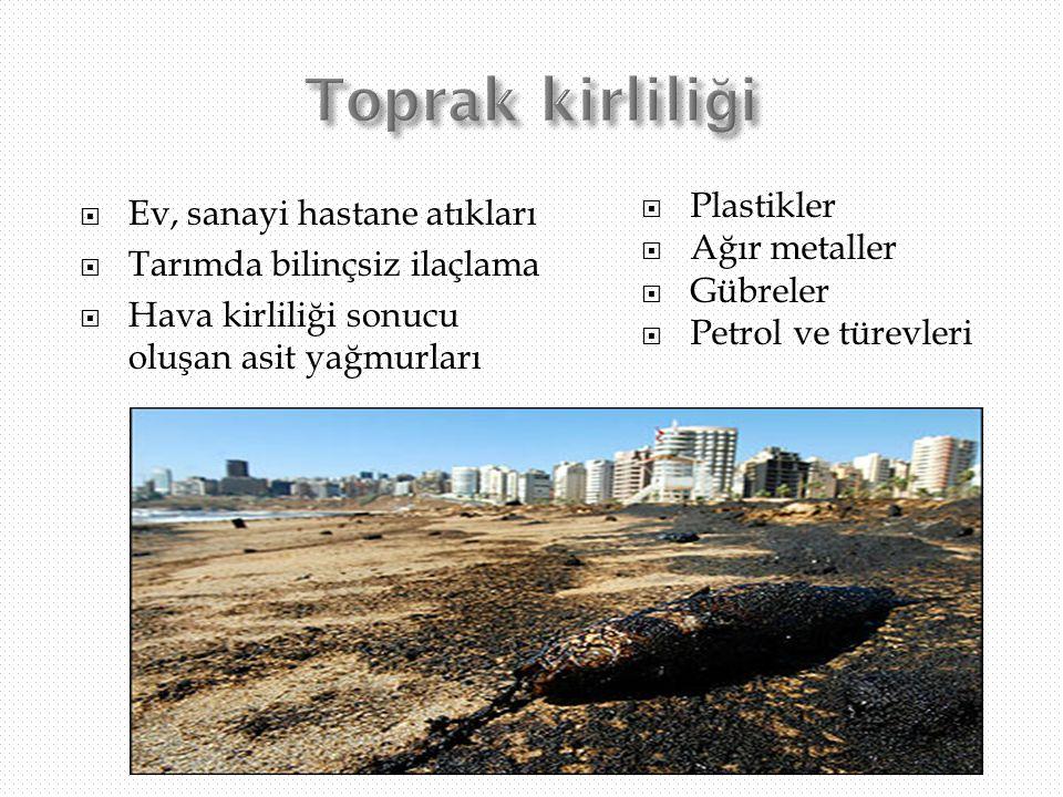  Ev, sanayi hastane atıkları  Tarımda bilinçsiz ilaçlama  Hava kirliliği sonucu oluşan asit yağmurları  Plastikler  Ağır metaller  Gübreler  Pe