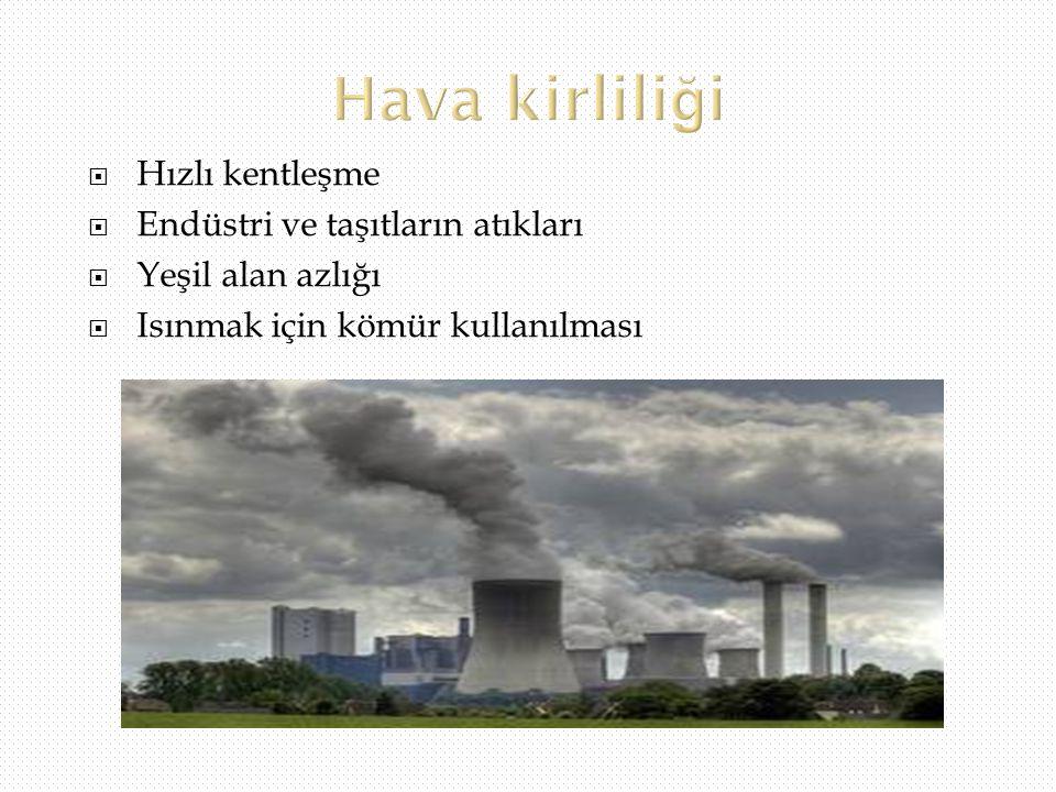  Hızlı kentleşme  Endüstri ve taşıtların atıkları  Yeşil alan azlığı  Isınmak için kömür kullanılması