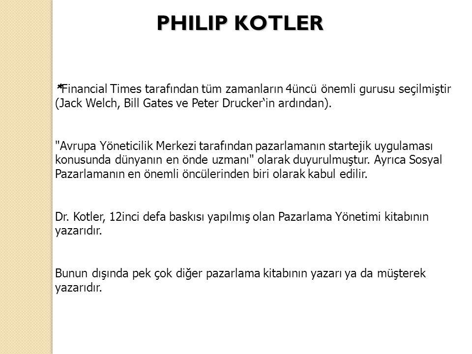 * Financial Times tarafından tüm zamanların 4üncü önemli gurusu seçilmiştir (Jack Welch, Bill Gates ve Peter Drucker'in ardından).