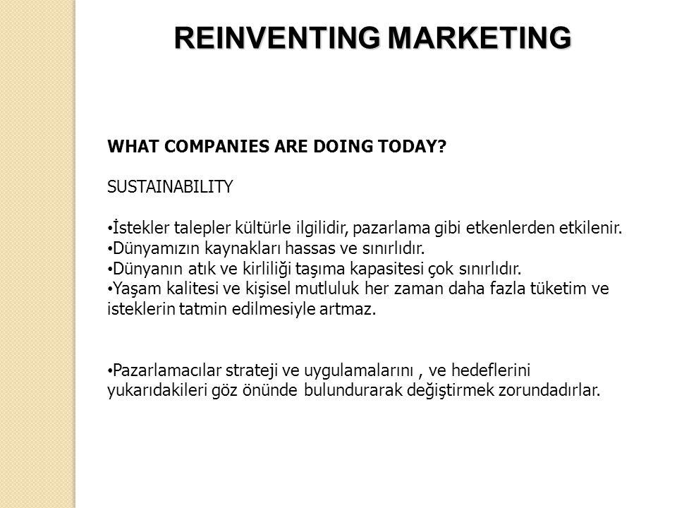 WHAT COMPANIES ARE DOING TODAY? SUSTAINABILITY İstekler talepler kültürle ilgilidir, pazarlama gibi etkenlerden etkilenir. Dünyamızın kaynakları hassa