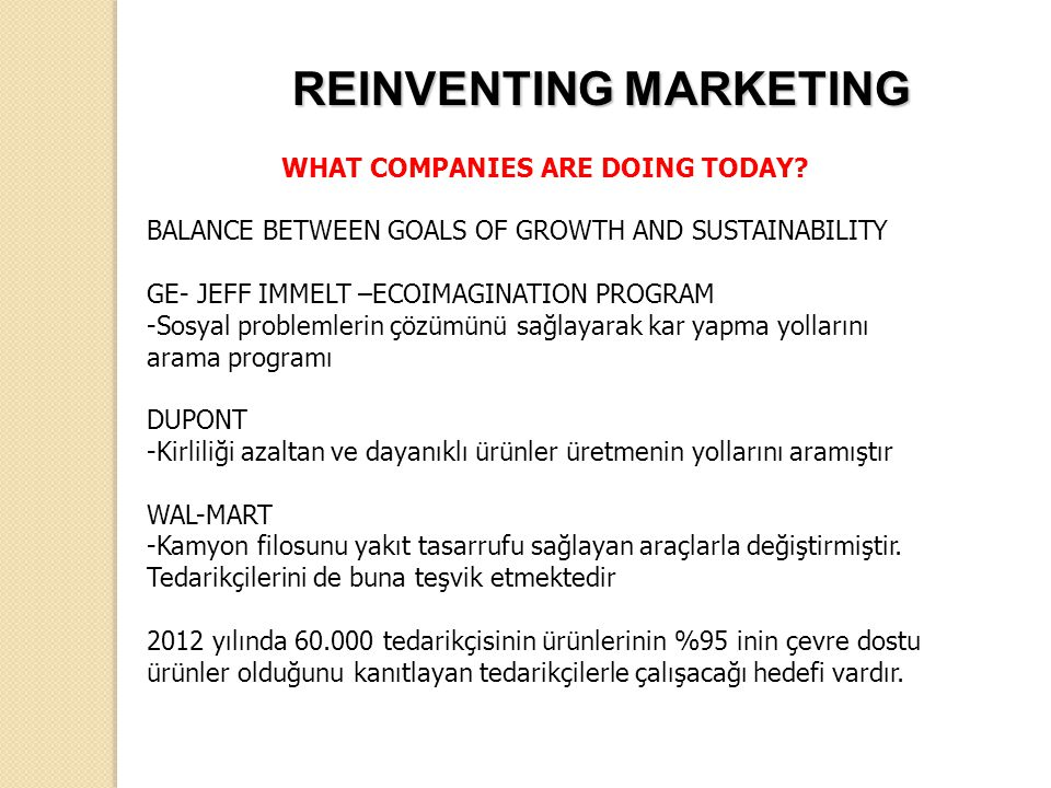 WHAT COMPANIES ARE DOING TODAY? BALANCE BETWEEN GOALS OF GROWTH AND SUSTAINABILITY GE- JEFF IMMELT –ECOIMAGINATION PROGRAM -Sosyal problemlerin çözümü