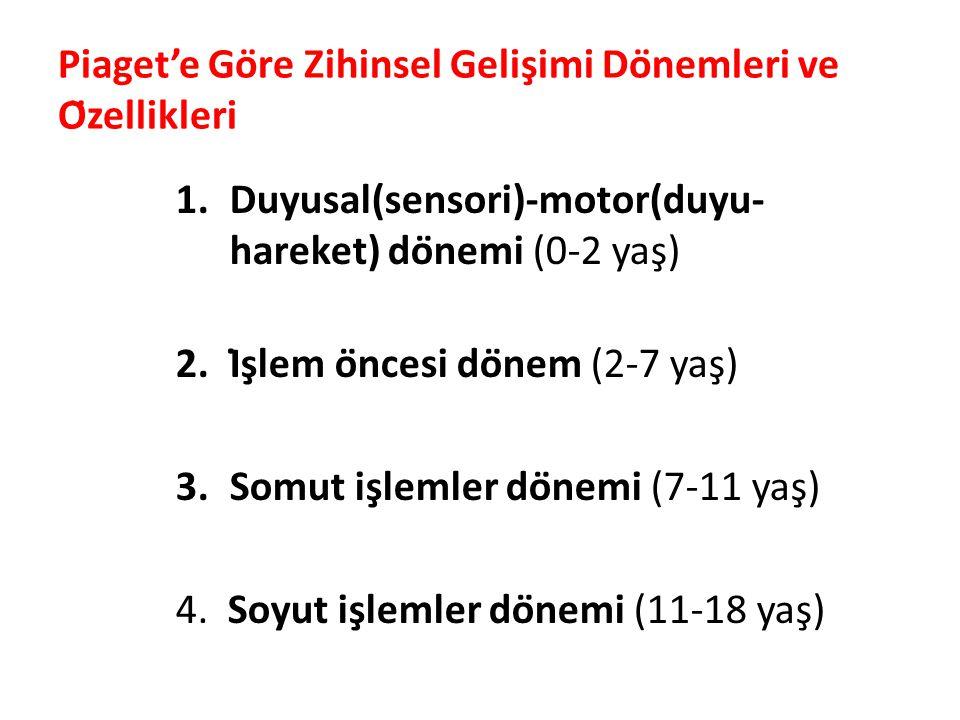 Piaget'e Göre Zihinsel Gelişimi Dönemleri ve Özellikleri 1.Duyusal(sensori)-motor(duyu- hareket) dönemi (0-2 yaş) 2.İşlem öncesi dönem (2-7 yaş) 3.Somut işlemler dönemi (7-11 yaş) 4.