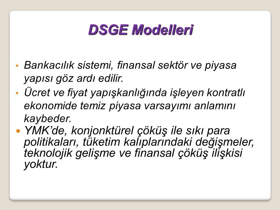 DSGE Modelleri DSGE Modelleri Bankacılık sistemi, finansal sektör ve piyasa yapısı göz ardı edilir. Ücret ve fiyat yapışkanlığında işleyen kontratlı e
