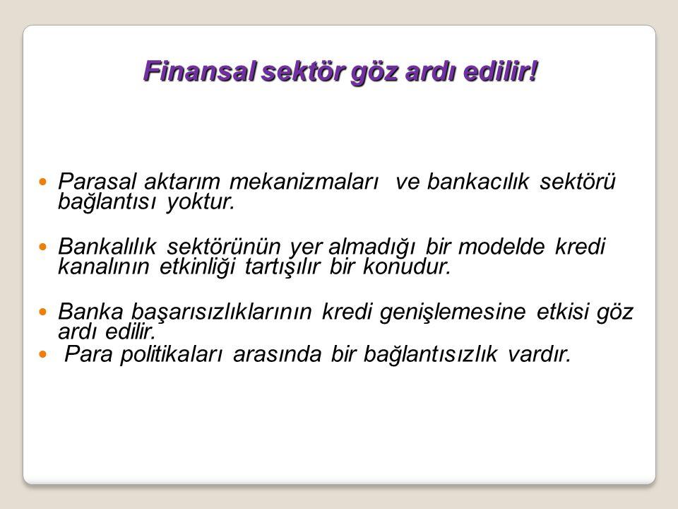 Finansal sektör göz ardı edilir! Finansal sektör göz ardı edilir! Parasal aktarım mekanizmaları ve bankacılık sektörü bağlantısı yoktur. Bankalılık se