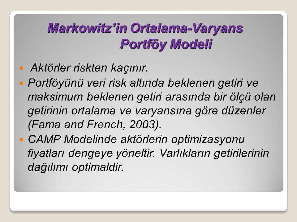 Markowitz'in Ortalama-Varyans Portföy Modeli Aktörler riskten kaçınır. Portföyünü veri risk altında beklenen getiri ve maksimum beklenen getiri arasın