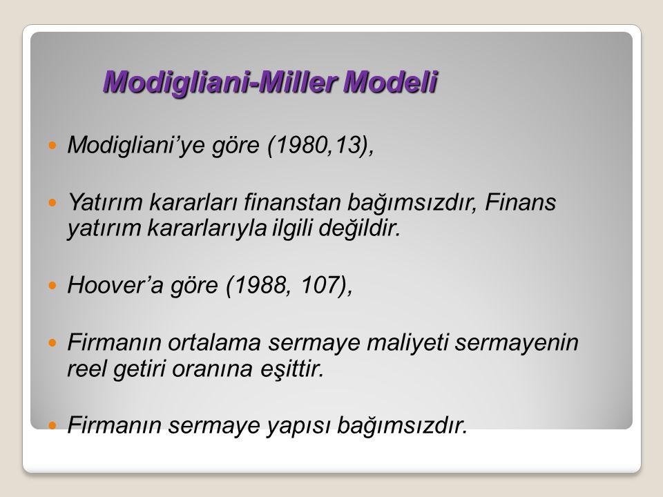 Modigliani-Miller Modeli Modigliani-Miller Modeli Modigliani'ye göre (1980,13), Yatırım kararları finanstan bağımsızdır, Finans yatırım kararlarıyla ilgili değildir.