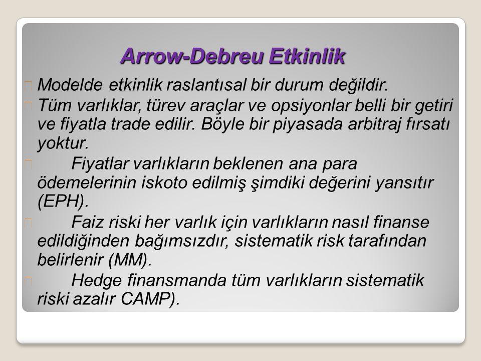 Arrow-Debreu Etkinlik Arrow-Debreu Etkinlik Modelde etkinlik raslantısal bir durum değildir. Tüm varlıklar, türev araçlar ve opsiyonlar belli bir geti