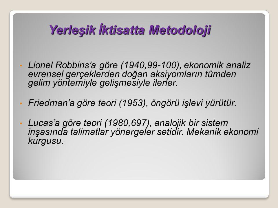 Yerleşik İktisatta Metodoloji Yerleşik İktisatta Metodoloji Lionel Robbins'a göre (1940,99-100), ekonomik analiz evrensel gerçeklerden doğan aksiyomların tümden gelim yöntemiyle gelişmesiyle ilerler.