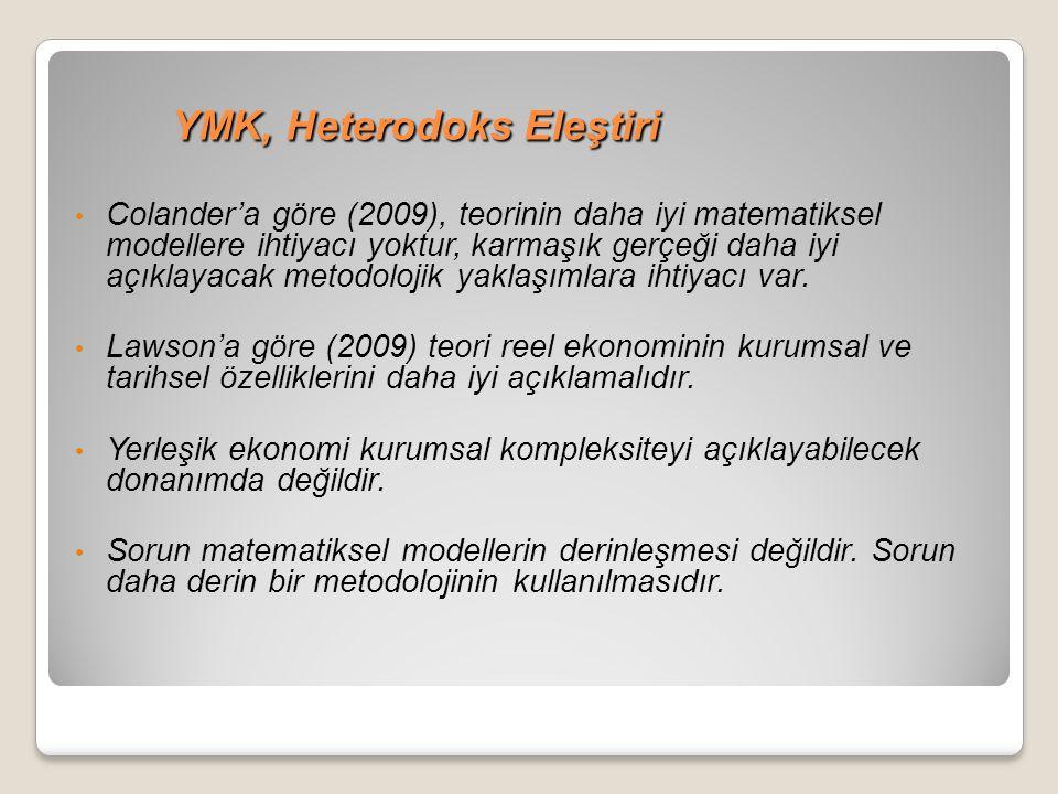 YMK, Heterodoks Eleştiri YMK, Heterodoks Eleştiri Colander'a göre (2009), teorinin daha iyi matematiksel modellere ihtiyacı yoktur, karmaşık gerçeği d