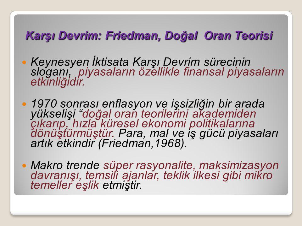 Karşı Devrim: Friedman, Doğal Oran Teorisi Karşı Devrim: Friedman, Doğal Oran Teorisi Keynesyen İktisata Karşı Devrim sürecinin sloganı, piyasaların özellikle finansal piyasaların etkinliğidir.