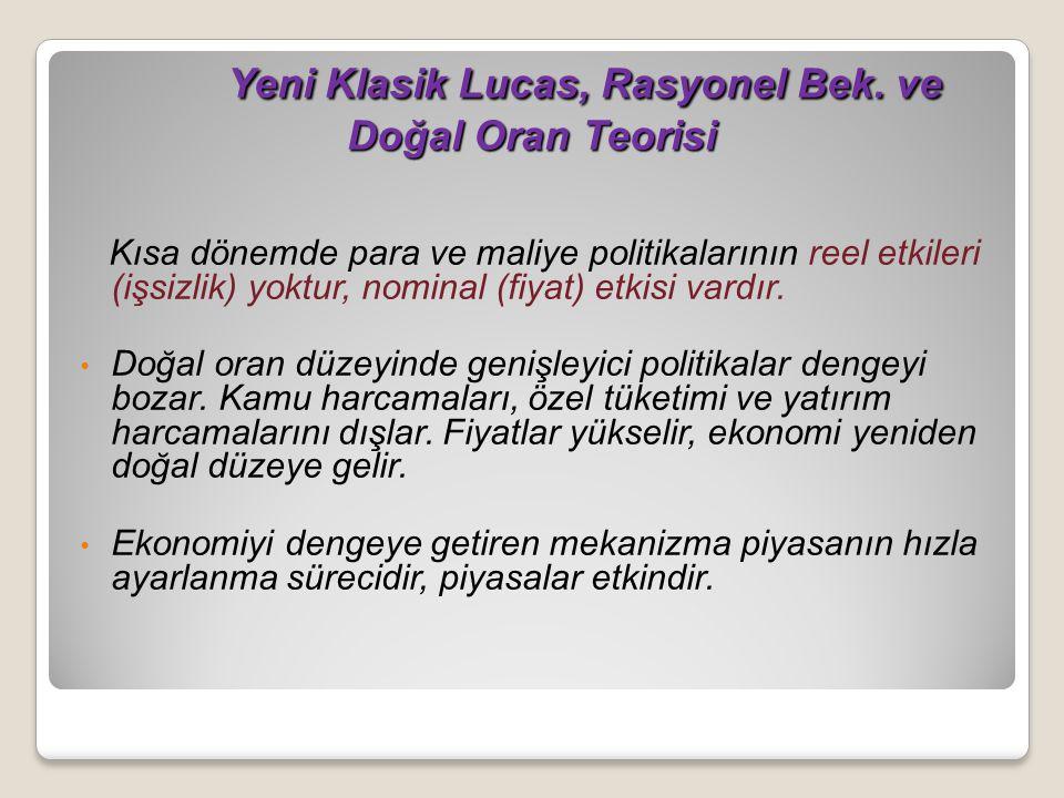 Yeni Klasik Lucas, Rasyonel Bek.ve Doğal Oran Teorisi Yeni Klasik Lucas, Rasyonel Bek.