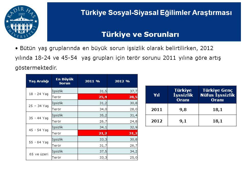 Türkiye Sosyal-Siyasal Eğilimler Araştırması Bütün yaş gruplarında en büyük sorun işsizlik olarak belirtilirken, 2012 yılında 18-24 ve 45-54 yaş grupl