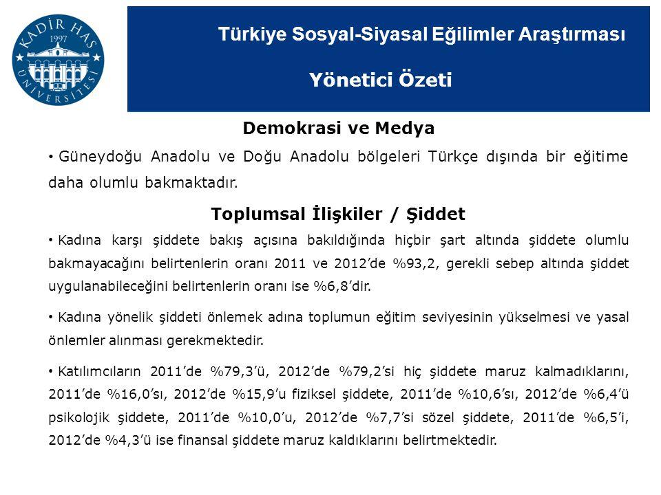 Türkiye Sosyal-Siyasal Eğilimler Araştırması Demokrasi ve Medya Güneydoğu Anadolu ve Doğu Anadolu bölgeleri Türkçe dışında bir eğitime daha olumlu bak