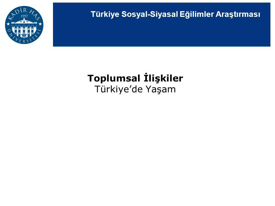 Türkiye Sosyal-Siyasal Eğilimler Araştırması Toplumsal İlişkiler Türkiye'de Yaşam