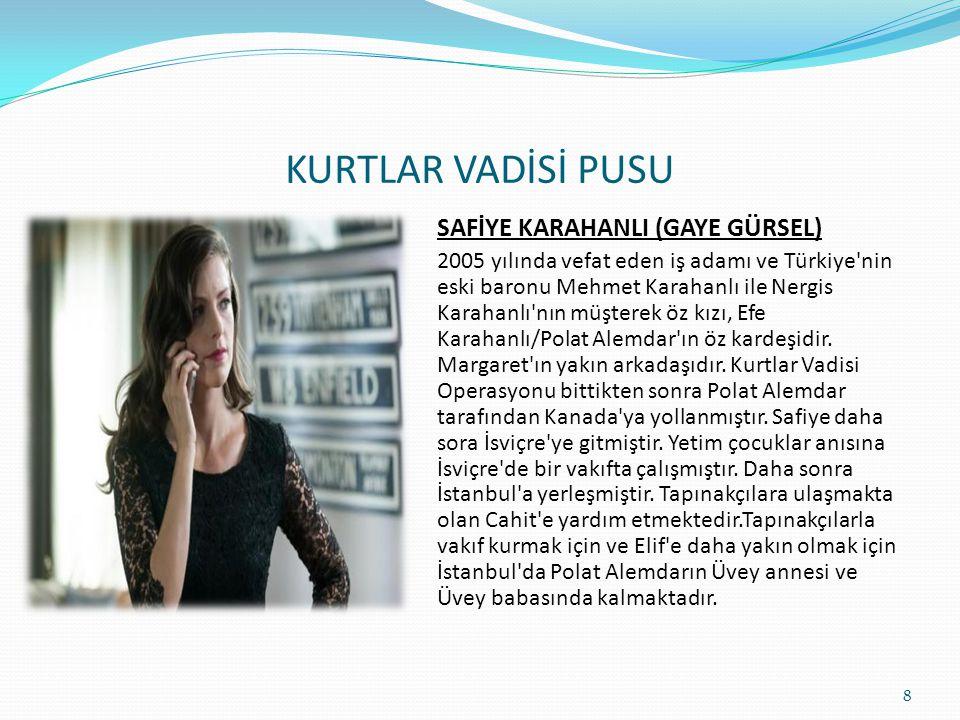 KURTLAR VADİSİ PUSU PUSAT ÇAKIR (GÖRKEM SEVİNDİK) Laz kökenlidir. 2004'te vefat eden mafya babası Süleyman Çakır ve 2012 yılında vefat eden Nesrin Yıl