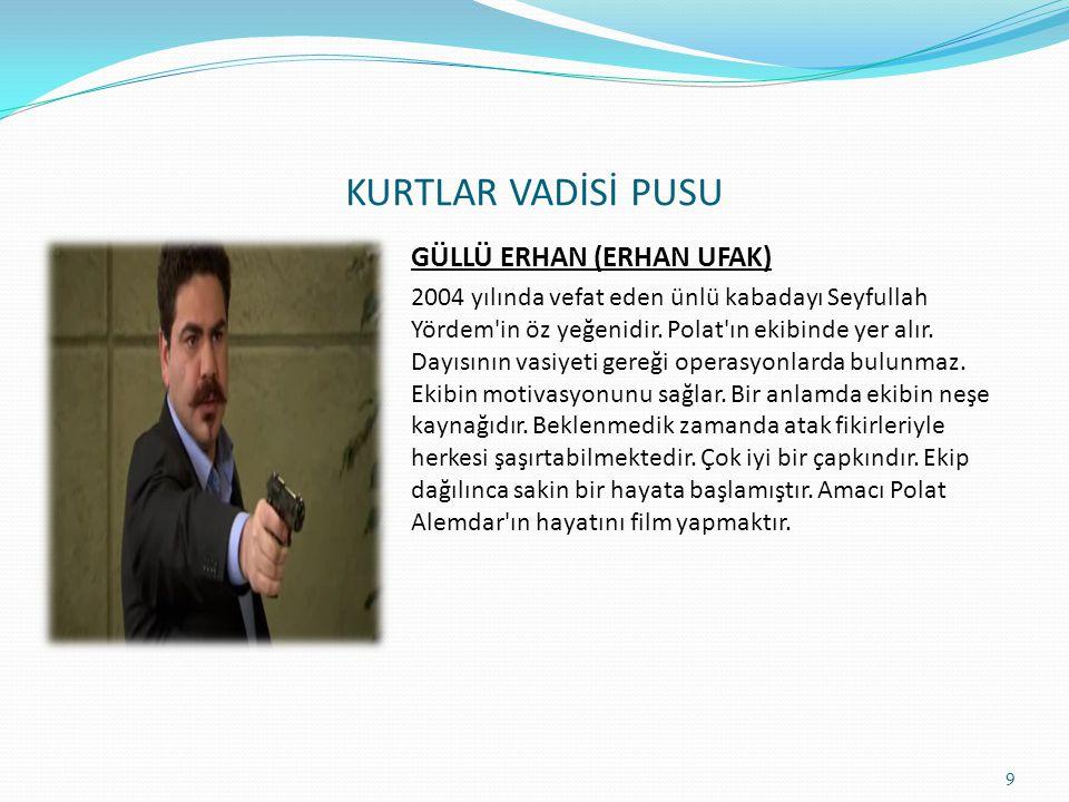 KURTLAR VADİSİ PUSU SAFİYE KARAHANLI (GAYE GÜRSEL) 2005 yılında vefat eden iş adamı ve Türkiye'nin eski baronu Mehmet Karahanlı ile Nergis Karahanlı'n