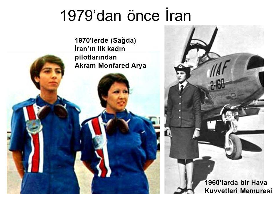 1979'dan önce İran 1960'larda bir Hava Kuvvetleri Memuresi 1970'lerde (Sağda) İran'ın ilk kadın pilotlarından Akram Monfared Arya