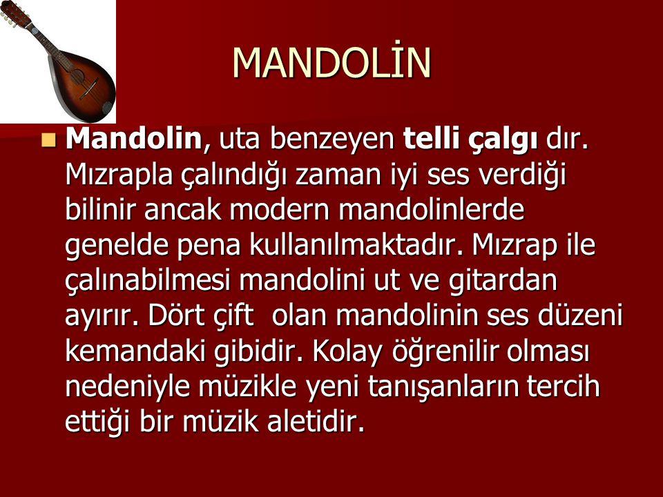 MANDOLİN Mandolin, uta benzeyen telli çalgı dır. Mızrapla çalındığı zaman iyi ses verdiği bilinir ancak modern mandolinlerde genelde pena kullanılmakt