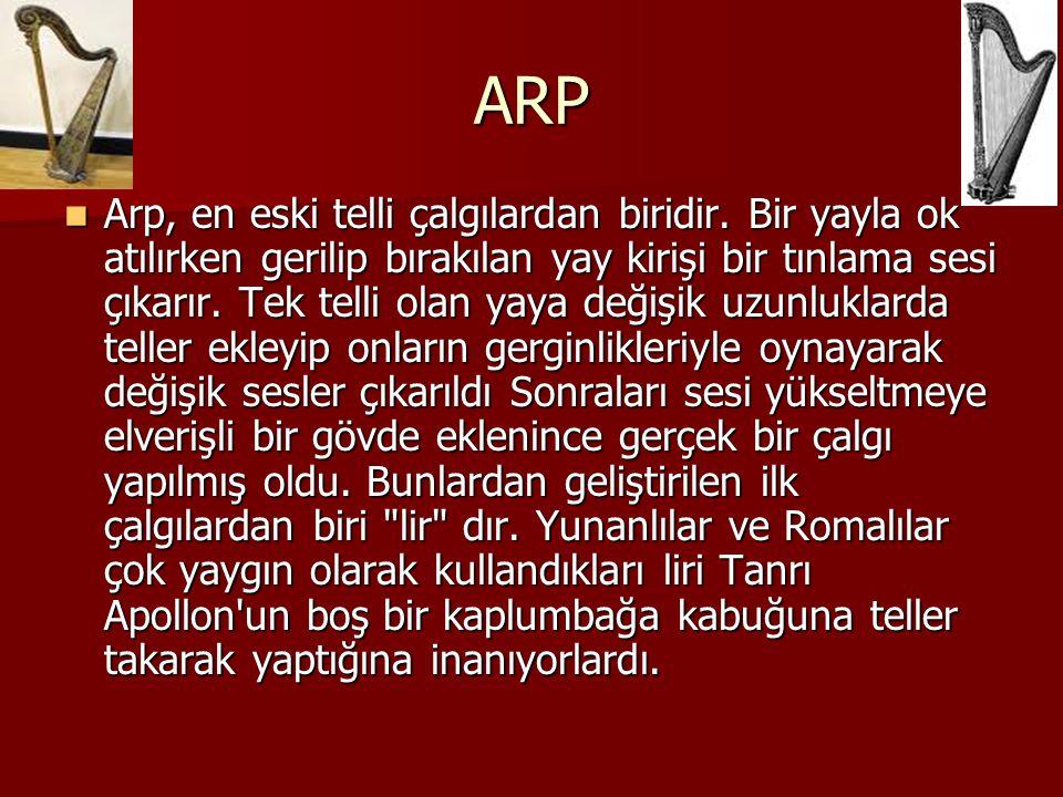 ARP Arp, en eski telli çalgılardan biridir. Bir yayla ok atılırken gerilip bırakılan yay kirişi bir tınlama sesi çıkarır. Tek telli olan yaya değişik