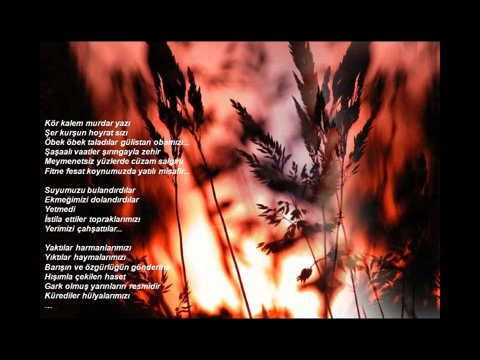 Dört yanımız trahomlu gözler heyulası Domuz bağı Cereyanlı tel Filistin askısı İleri geri tutar yanı yok Üstümüz çapraz ateş Altımız mayın tarlası...