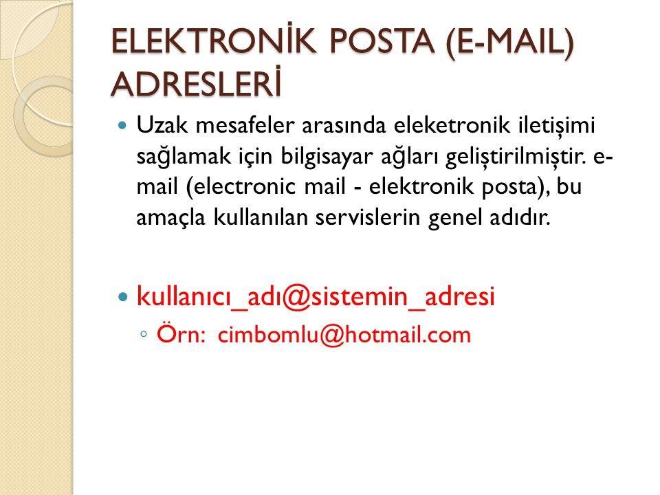 ELEKTRON İ K POSTA (E-MAIL) ADRESLER İ Uzak mesafeler arasında eleketronik iletişimi sa ğ lamak için bilgisayar a ğ ları geliştirilmiştir.