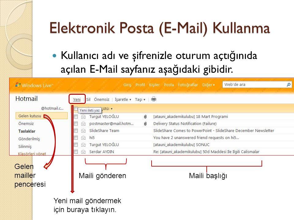 Elektronik Posta (E-Mail) Kullanma Kullanıcı adı ve şifrenizle oturum açtı ğ ınıda açılan E-Mail sayfanız aşa ğ ıdaki gibidir.