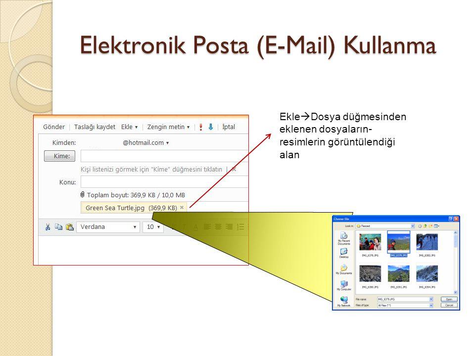 Elektronik Posta (E-Mail) Kullanma Ekle  Dosya düğmesinden eklenen dosyaların- resimlerin görüntülendiği alan