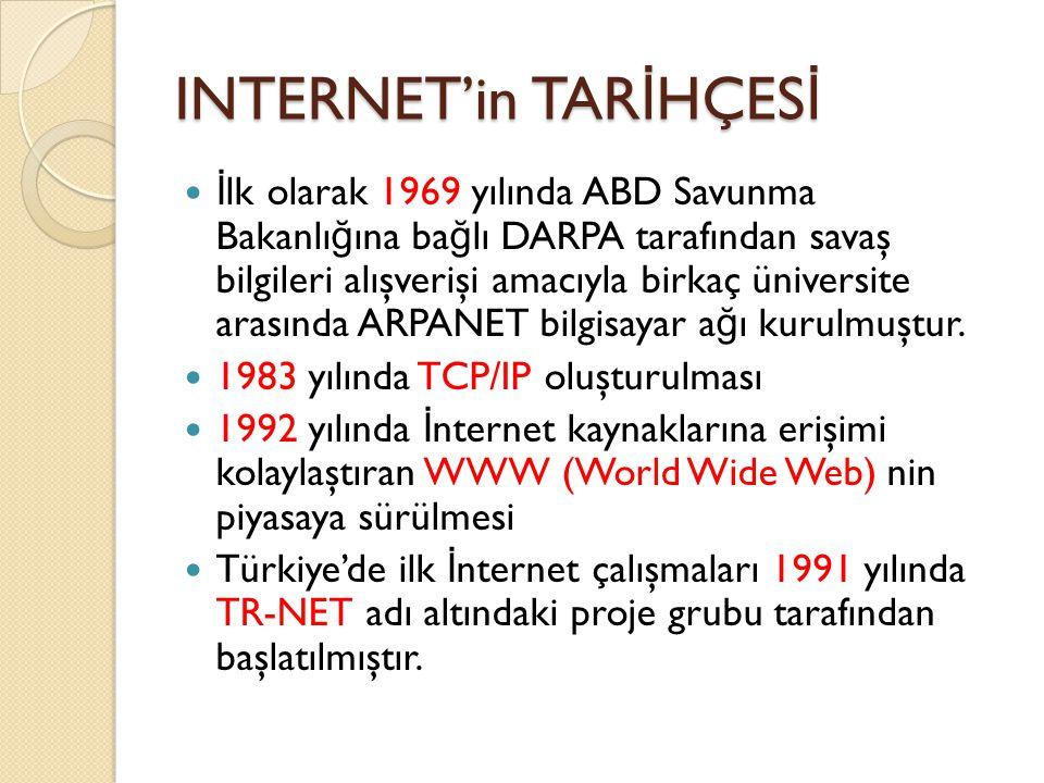 INTERNET'in TAR İ HÇES İ İ lk olarak 1969 yılında ABD Savunma Bakanlı ğ ına ba ğ lı DARPA tarafından savaş bilgileri alışverişi amacıyla birkaç üniversite arasında ARPANET bilgisayar a ğ ı kurulmuştur.