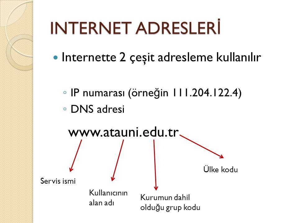 INTERNET ADRESLER İ Internette 2 çeşit adresleme kullanılır ◦ IP numarası (örne ğ in 111.204.122.4) ◦ DNS adresi www.atauni.edu.tr Servis ismi Kullanıcının alan adı Kurumun dahil oldu ğ u grup kodu Ülke kodu